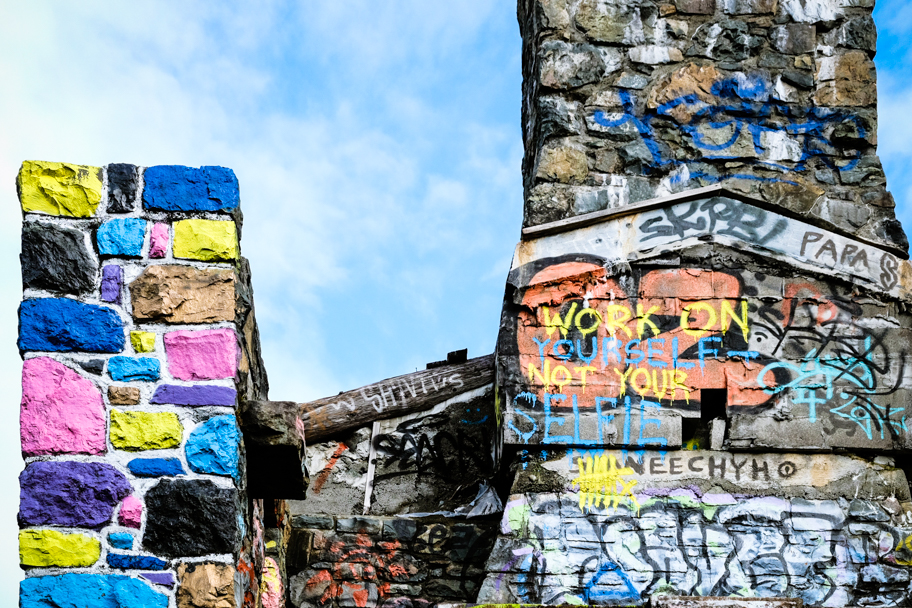 Abandoned hotel near Sooke Potholes is now a haven for graffiti artists