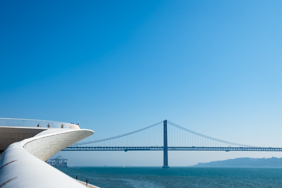 MAAT and 25th of April Bridge, in Lisbon, Portugal | Barbara Cameron | Food & Travel Photographer