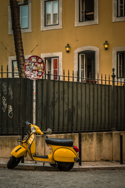 Yellow Scooter in Lisbon, Portugal | Barbara Cameron | Food & Travel Photographer
