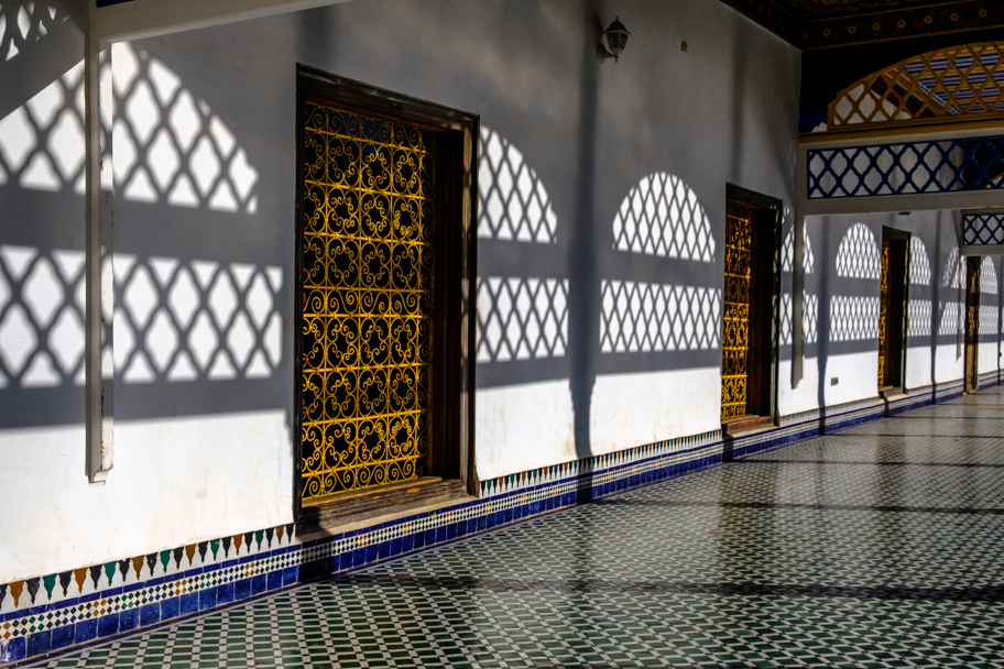Outdoor walkway, Palais De La Bahia (Prime Minister's Palace), Marrakech, Morocco| Barbara Cameron Pix | Food & Travel Photographer