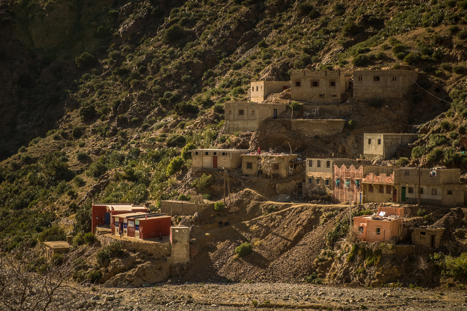 Berber Village with Red Schoolhouse, Atlas Mountains, Morocco | Barbara Cameron Pix | Food & Travel Photographer
