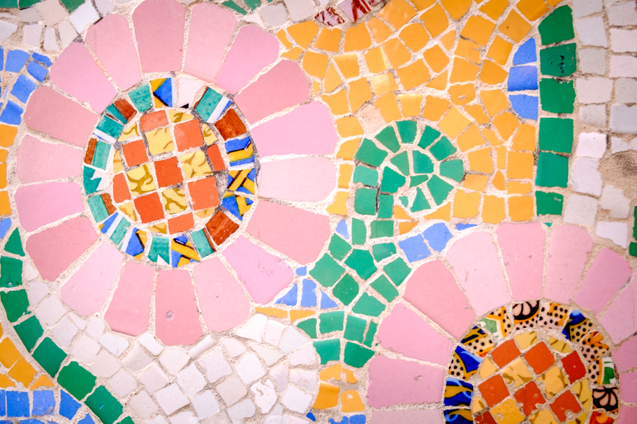 Mosaic tiles in Barcelona, Spain, by Barbara Cameron Pix