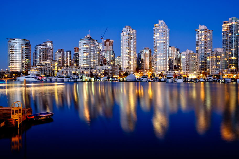 A view of False Creek skyline in Vancouver BC at dawn