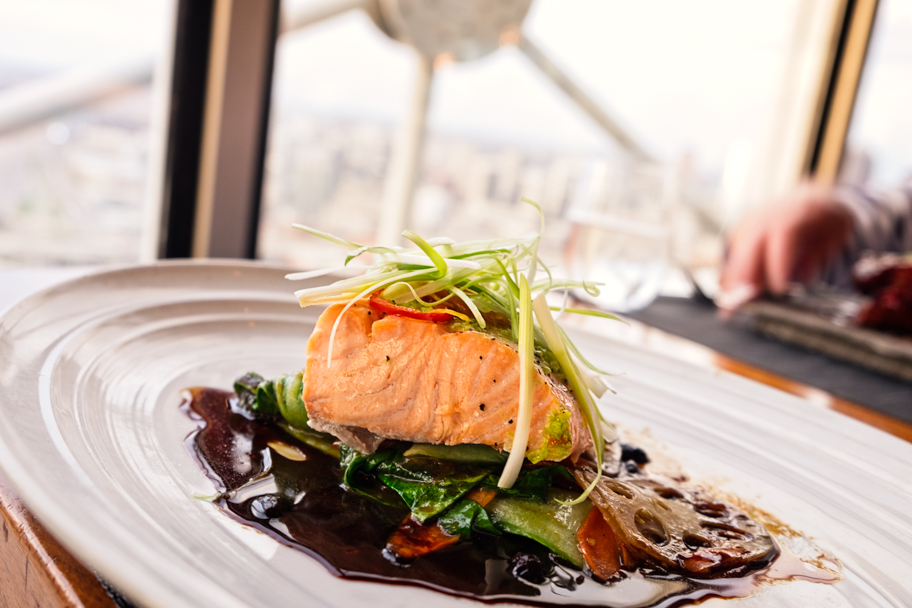 Contemporary gourmet cuisine from Wolfgang Puck's Five Sixty Restaurant in Dallas, Texas