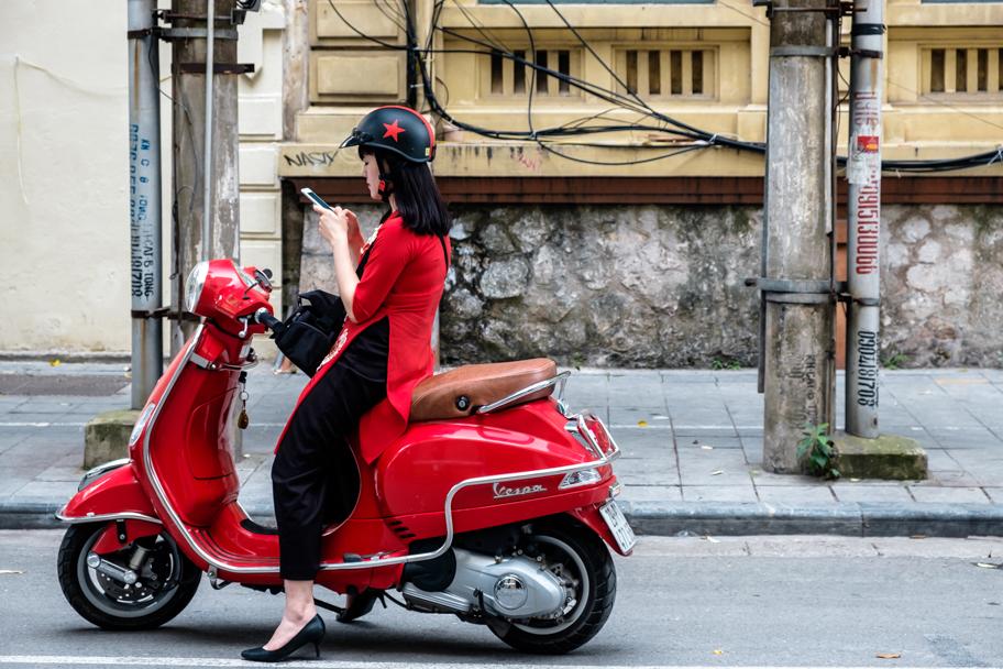 Vietnamese woman on red scooter, Hanoi, Vietnam | Barbara Cameron Pix | Food & Travel Photographer