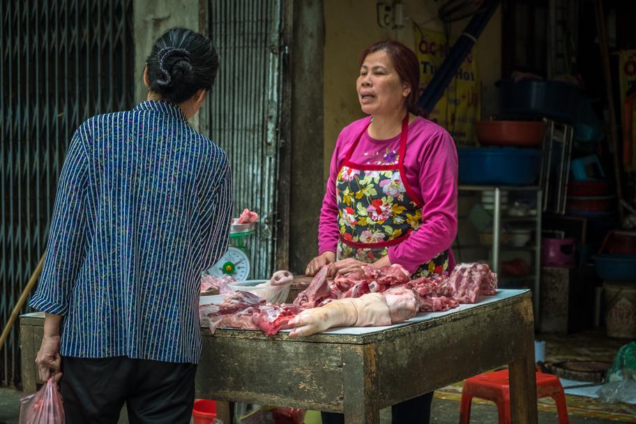 Fresh pork meat for sale, Hanoi, Vietnam | Barbara Cameron Pix | Food & Travel Photographer