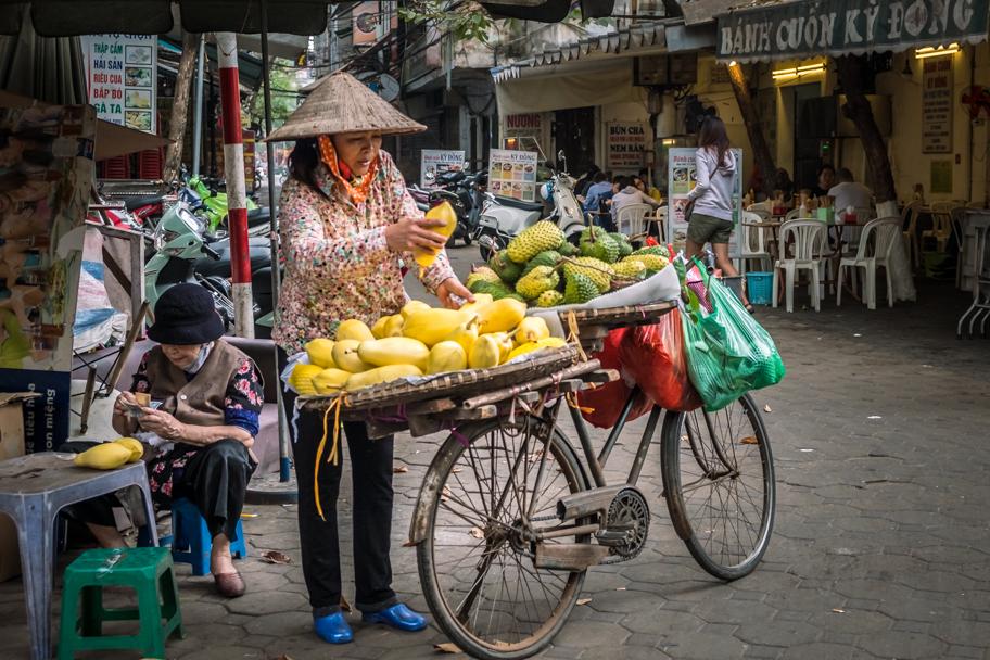 Mobile durian street vendor, Hanoi, Vietnam | Barbara Cameron Pix | Food & Travel Photographer