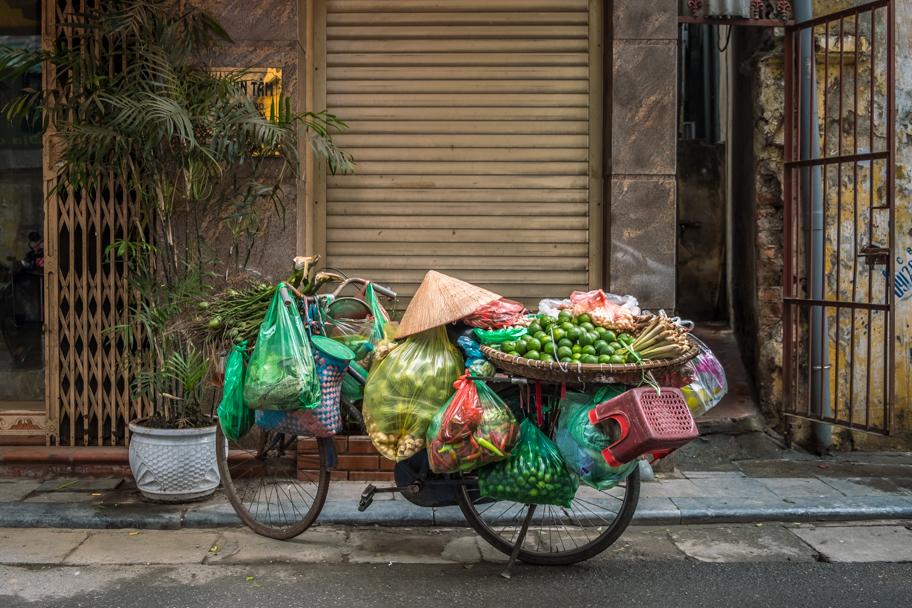 Bicycle laden with goods for sale, Hanoi, Vietnam | Barbara Cameron Pix | Food & Travel Photographer