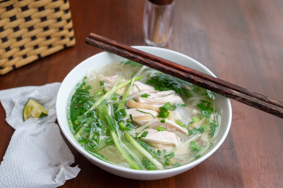 A full bowl of chicken pho in Hanoi, Vietnam. Photo by Barbara Cameron Pix, Food & Travel Photographer