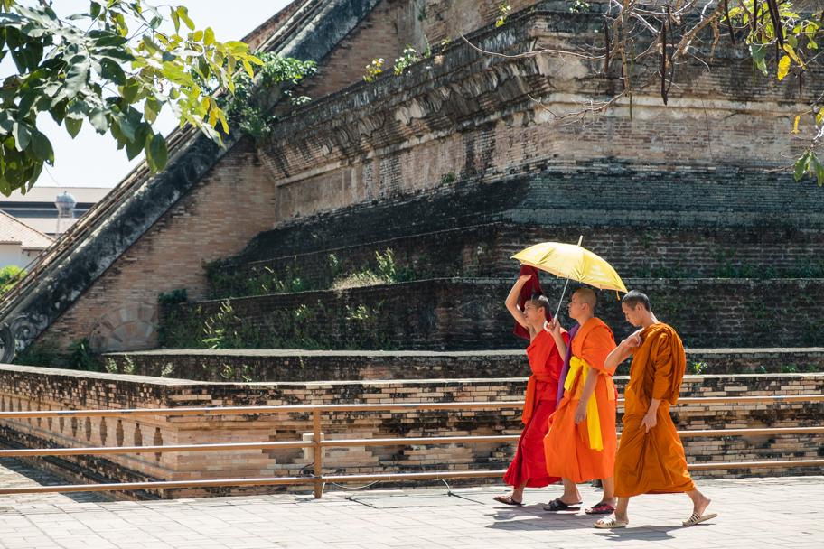 3 Buddhist monks at Wat Chedi Luang, Chiang Mai, Thailand| Barbara Cameron Pix | Food & Travel Photographer