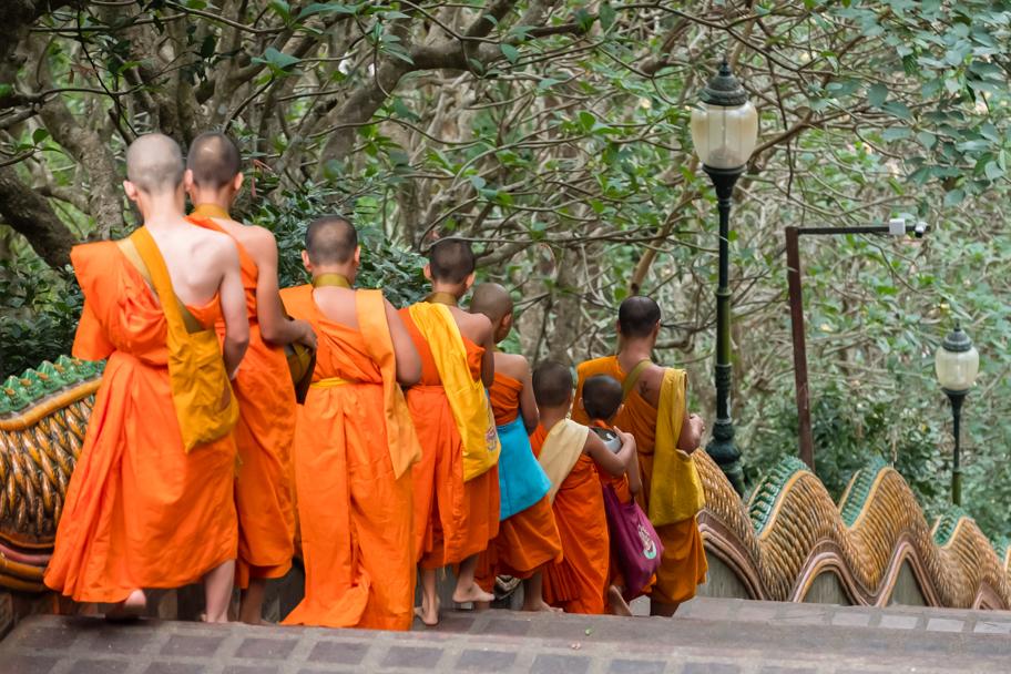 Buddhist monks descend the naga balustrade at Wat Phra That Doi Suthep, Chiang Mai, Thailand | Barbara Cameron Pix | Food & Travel Photographer