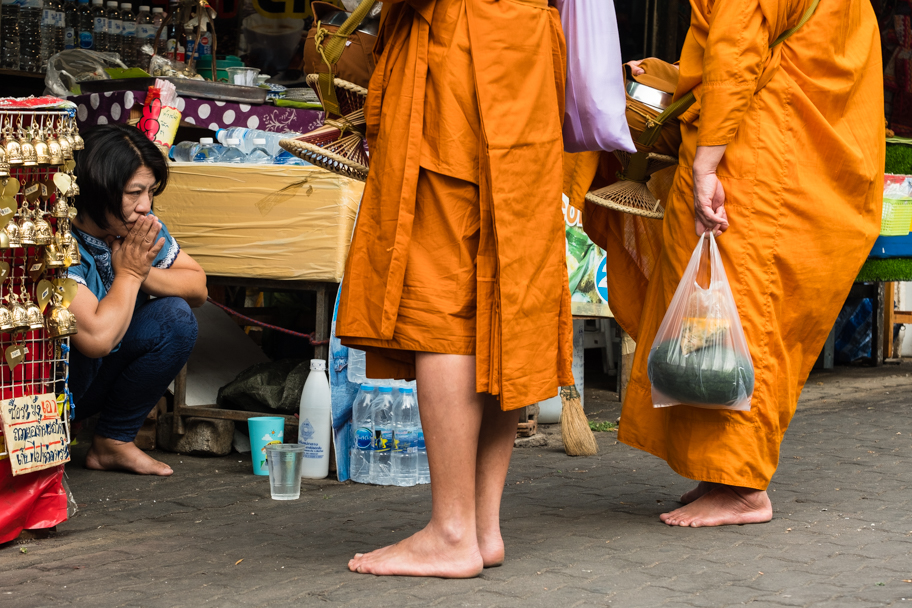 Buddhist alms-giving ritual, Chiang Mai, Thailand | Barbara Cameron Pix | Food & Travel Photographer