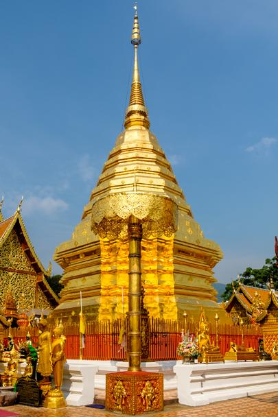 Gold-plated Chedi at Wat Phra That Doi Suthep, Chiang Mai, Thailand | Barbara Cameron Pix | Food & Travel Photographer