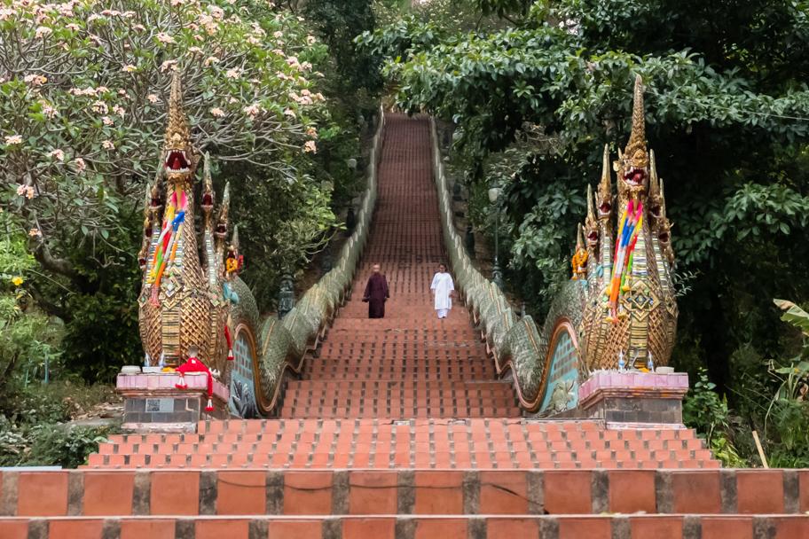 Naga balustrade, 309 steps at Wat Phra That Doi Suthep, Chiang Mai, Thailand | Barbara Cameron Pix | Food & Travel Photographer