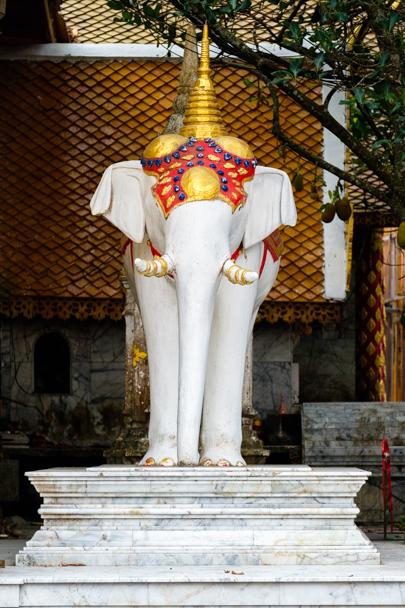 White elephant shrine at Wat Phra That Doi Suthep, Chiang Mai, Thailand | Barbara Cameron Pix | Food & Travel Photographer