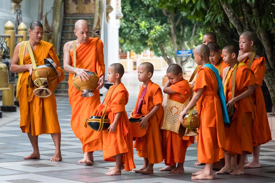 Buddhist monks at Wat Phra That Doi Suthep, Chiang Mai, Thailand | Barbara Cameron Pix | Food & Travel Photographer