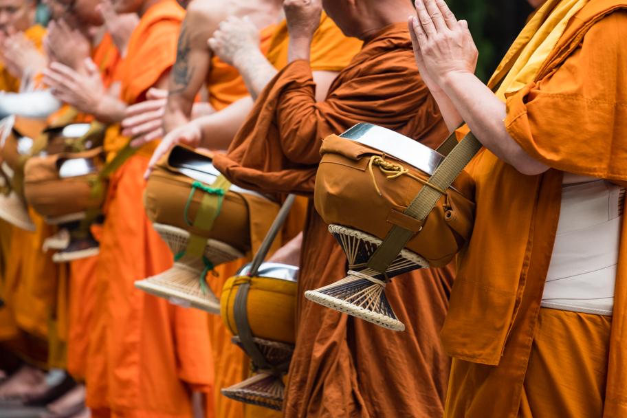 Buddhist monks chanting at Wat Phra That Doi Suthep, Chiang Mai, Thailand | Barbara Cameron Pix | Food & Travel Photographer