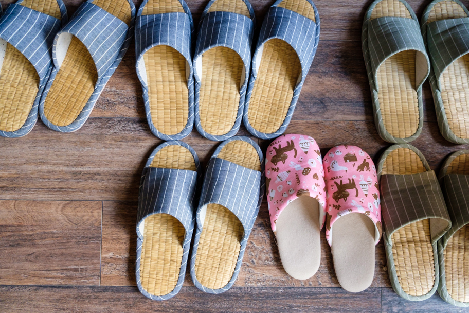 Japanese slippers lined up | Barbara Cameron Pix | Food & Travel Photographer