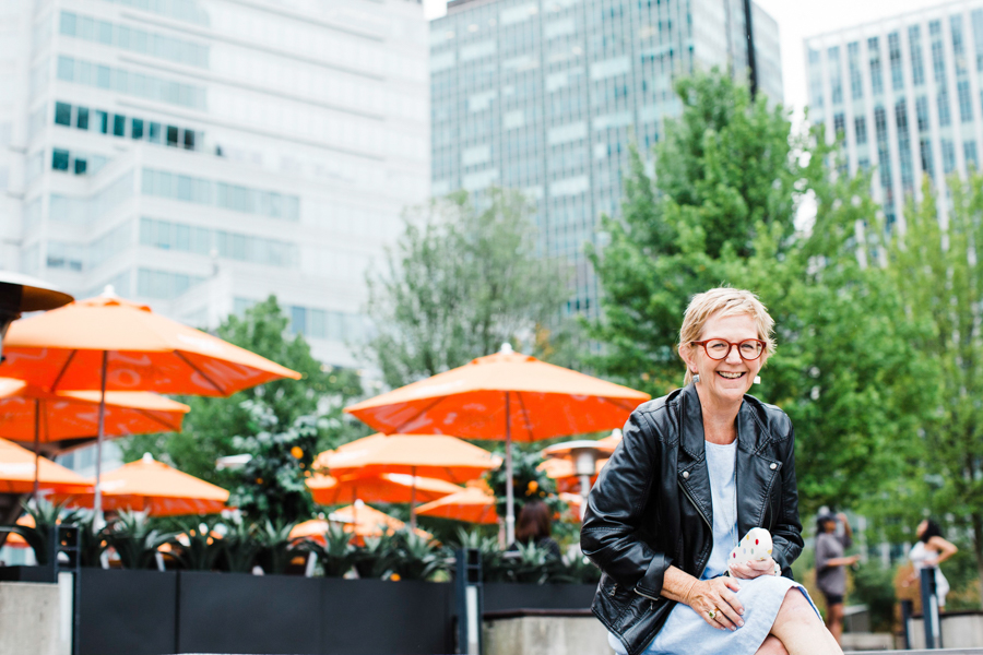 Barbara Cameron, hospitality photographer, enjoying time in downtown Vancouver