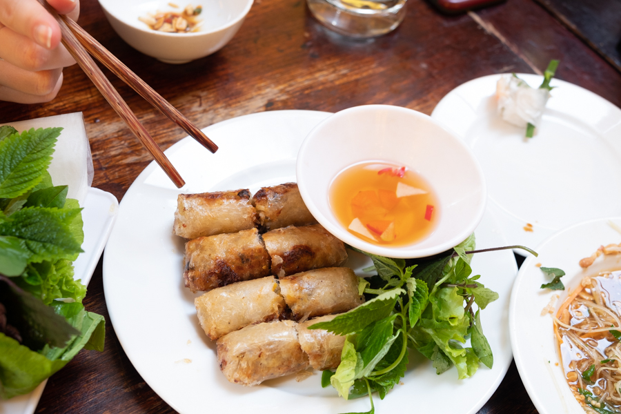 plate of Vietnamese spring rolls with dipping sauce and noodle bowl