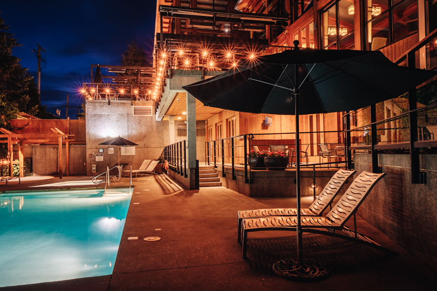 pool side evening view by Barbara Cameron   Hospitality Photographer