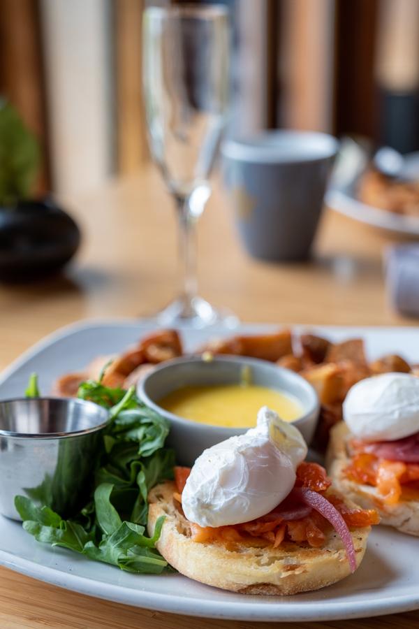 Eggs benny breakfast in hotel restaurant by Barbara Cameron Pix