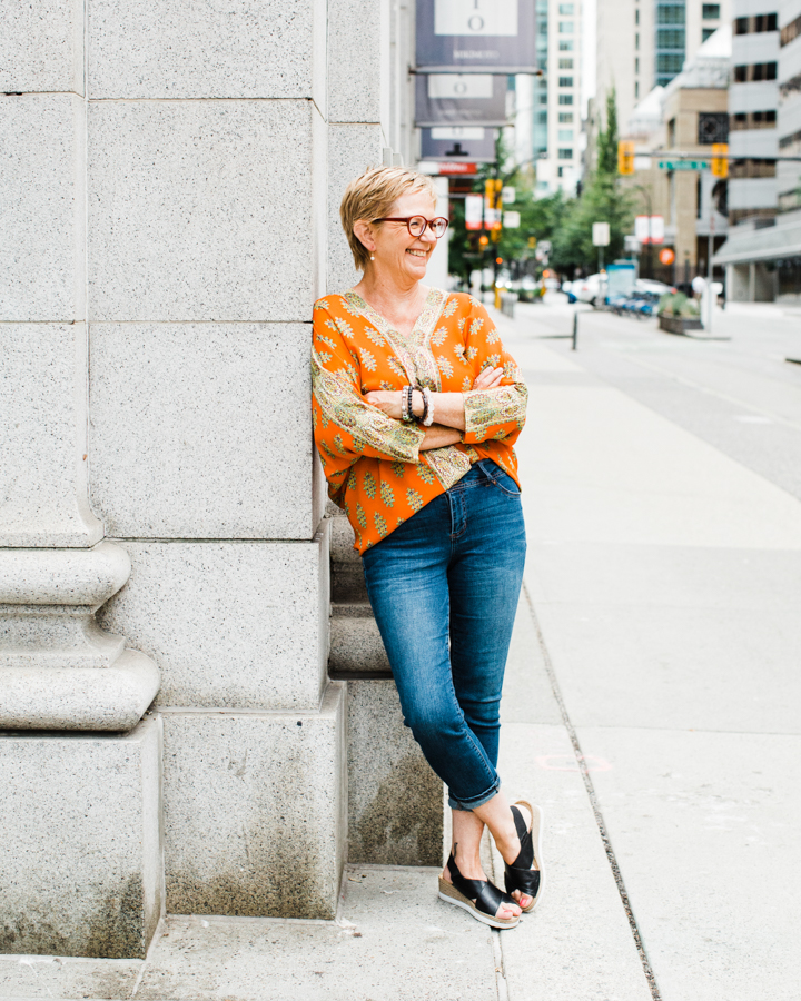 Barbara Cameron, hospitality photographer, takes a break in downtown Vancouver